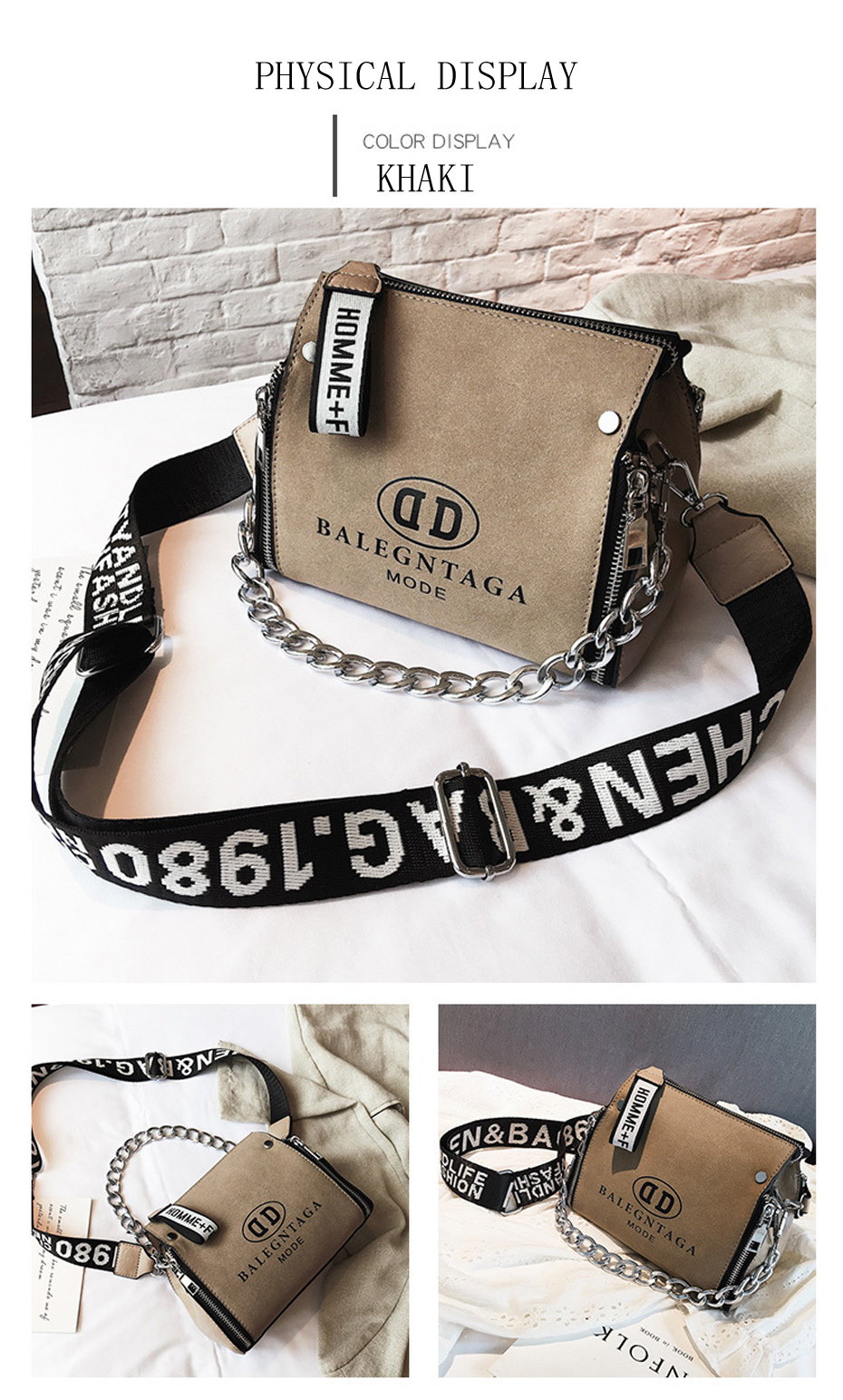 HTB1aR9vJCzqK1RjSZFjq6zlCFXaI - Women's Leather Messenger Bag | Wide Strap Chains