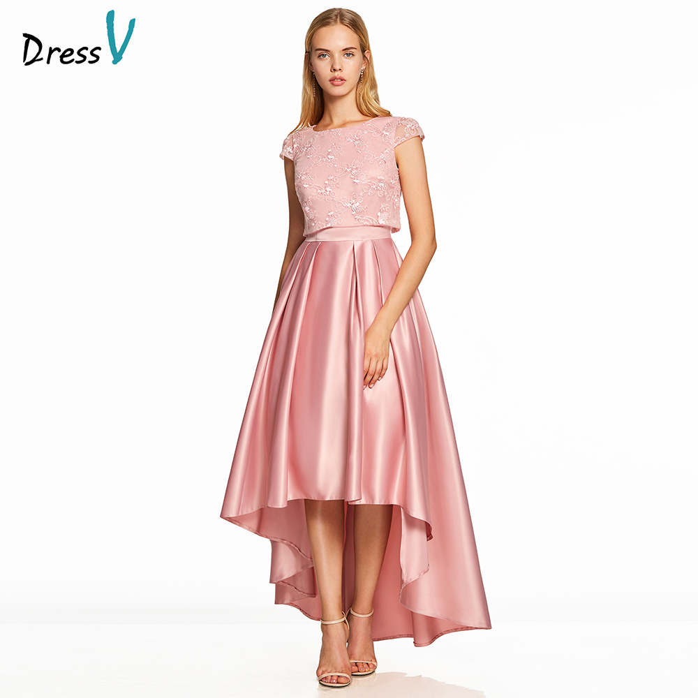Dressv pink a line   prom     dress   cheap elegant sample scoop neck cap sleeves asymmetry lace wedding formal party   prom     dresses