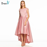 Dressv rosa uma linha de vestido de baile barato amostra elegante do pescoço da colher cap mangas assimetria lace vestidos de casamento formal do partido do baile de finalistas