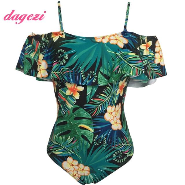 79d0f8ba3c3d9 New Off Shoulder Ruffle One Piece Swimsuit Women Floral Printed Swimwear  Monokini Retro Swimming Suits Adjust Strap Bathing Suit