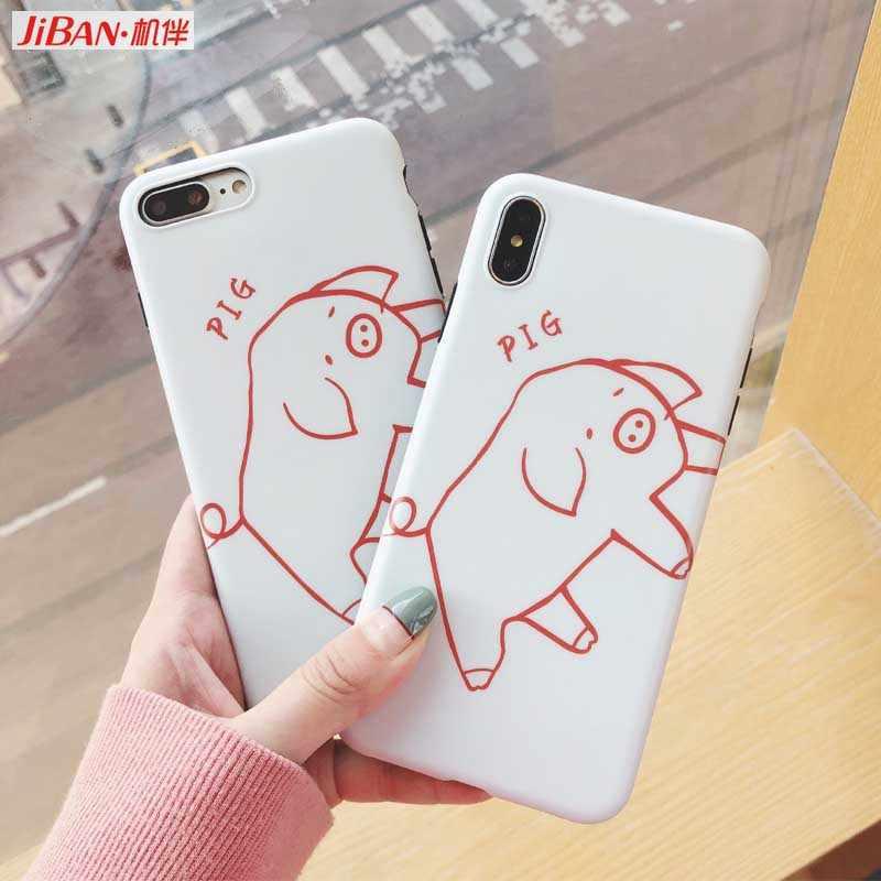 Фото JIBAN Милая Линия свинья мультфильм чехол для iphone XS MAX X XR 6 6s plus 7 8 плюс Капа мягкая IMD