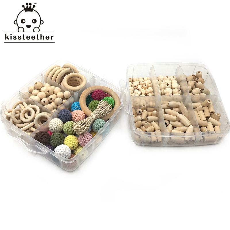 2 Boxed Mengen Houten Ring Hout Waterdruppels Rijst Vierkante Kleine Kalebas Vaten Kralen Gehaakte Kralen Diy Baby Bijtring Speelgoed Set Producten Hot Sale