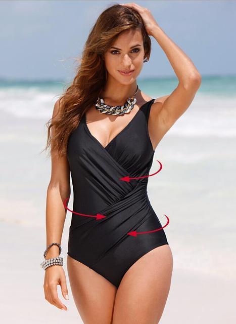 9e329ef832feb Plus Size Swimwear Women 1 One Piece Swimsuit 2017 Solid Swimwear Large  Size Vintage Retro Swimsuit Bathing Suits Swim Black 055
