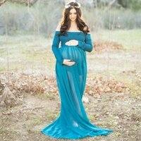 SMDPPWDBB Maternity Dress Photo Shoot Maxi Maternity Gown SPLIT FRONT Maternity Chiffon Sexy Green Maternity Photography Props