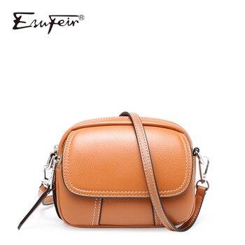 ESUFEIR Fashion Genuine Leather Lady Bags Mini Square Bag Shoulder Bag Crossbody Bag Luxury Brand Designer Small Round Package