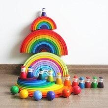 Дропшиппинг 12 шт. деревянные радужные складывающиеся Кубики-головоломки укладчик обучающая игра геометрические строительные блоки Монтессори игрушки
