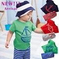 2 шт Новое Лето Baby Boy одежда Набор детский Набор С Коротким Рукавом Топ + Полосатые Брюки Одежда Наборы повседневная Печать