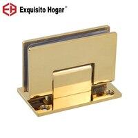Puerta de cristal baños oro acero inoxidable 304 montaje en pared vidrio negro Puerta de ducha bisagra (90 grados abierto)