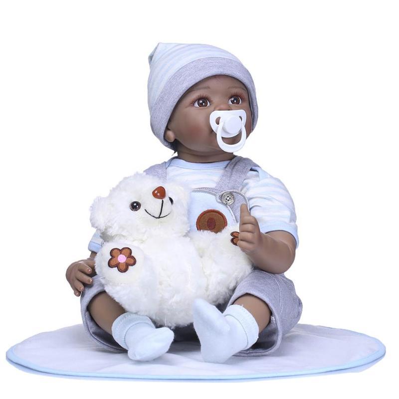22in Reborn Baby Doll Soft Silicone Imitation Black Skin Newborn Dolls With Cloth Kids Playmate Sleep Accompany Toy Gift 18 48cm full silicone bebe reborn baby dolls accompany sleep real cute lifelike silicone newborn doll toy gift kids playmate