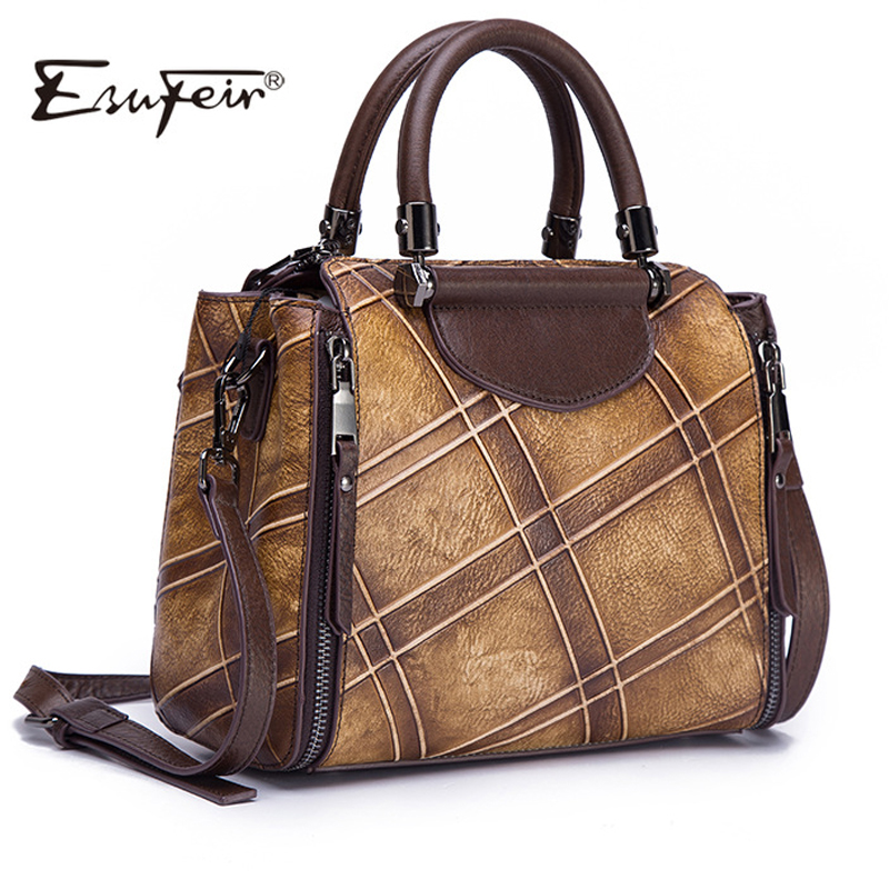 2018 Vintage Design Genuine Leather Women Handbags Satchels Pattern Luxury Women Bags Leather Female Messenger Bags