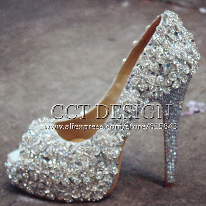 2015 New Fashion High Heel Wedding Shoes Women Crystal Platforms Glitter Rhinestones Party Pumps Prom Shoes high heels