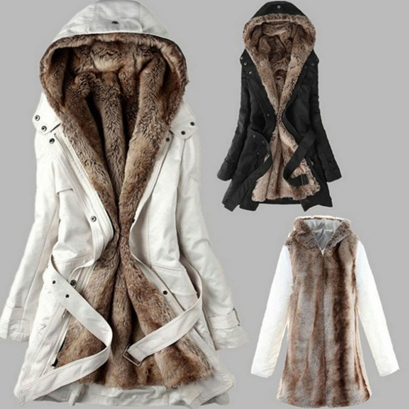 Winter Warm Thick Faux fur lining women's fur Hoodies winter warm long fur inside coat jacket cotton clothes thermal   parkas