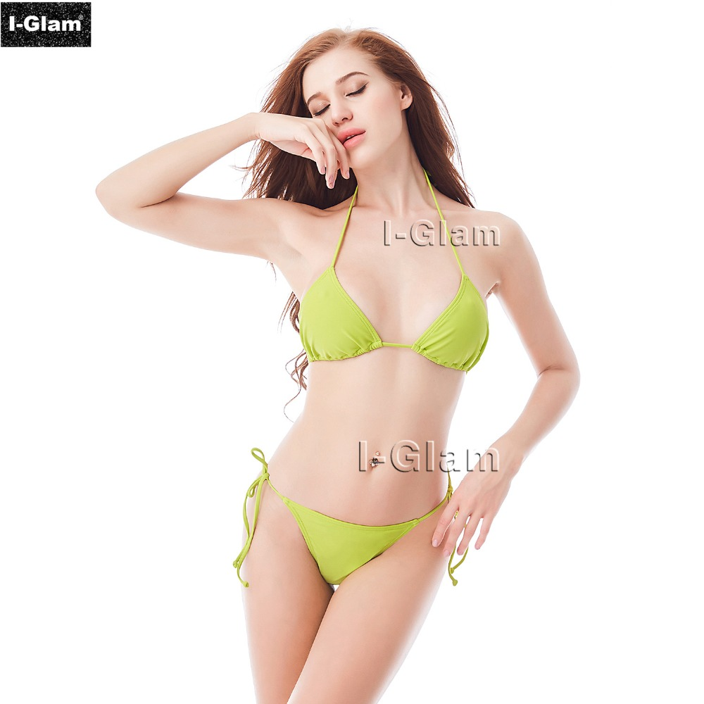 Sexy Brazilian Mini Tiny Bikini Triangle Top Women Swimsuit 2017 Push Up Swimwear Set Yellow Summer Beachwear Maillot De Bain women push up bikini top brazilian solid swimwear halter sexy pad swim bra beachwear sport tops maillot de bain