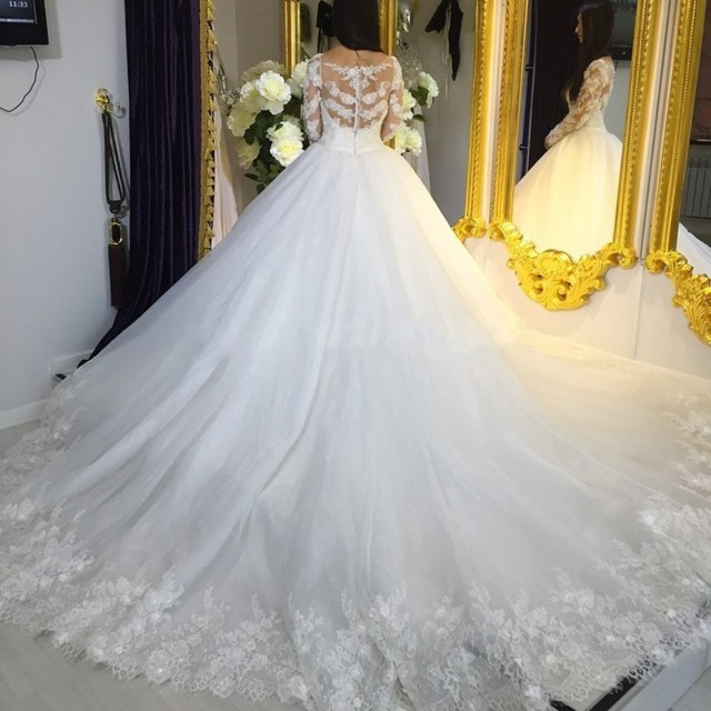 Buy Wedding Gowns Online Ball Gown Long Sleeve Bride Dresses With Long  Tails Bridal Gowns Robes