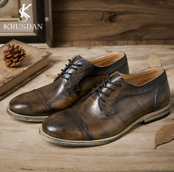 [krusdan]bullock Men's Retro Oxfords Shoes 2017 Autumn British Genuine Leather Falts Fashion Round Toe Brogue Shoes For Men 2016 spring autumn bullock men s oxfords shoes carved leisure shoes fashion retro pointed toe brogue shoes for men