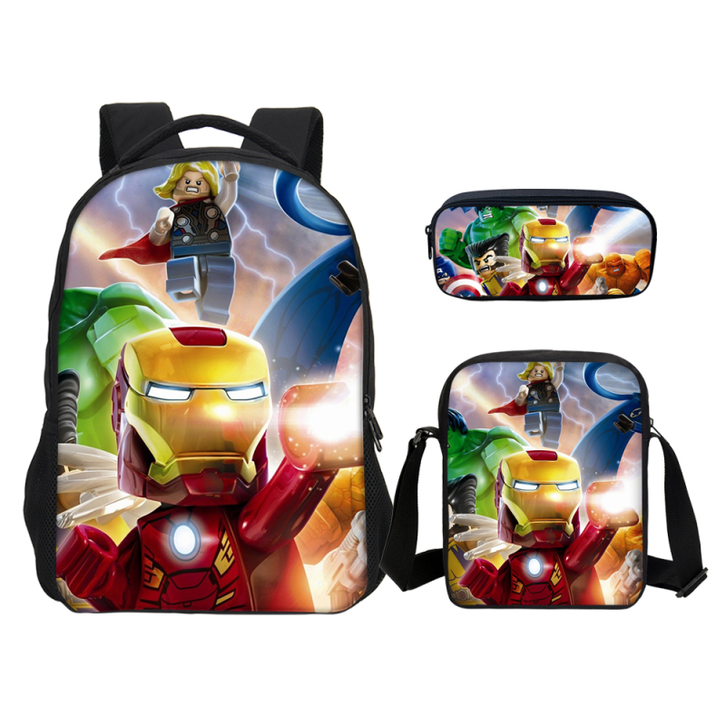 3pcs Set Super Hero Iron Man Hulk Ninja School Bags for Children kids School Backpack for
