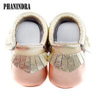 Mix Shine Color Baby Moccasins Genuine Leather First Walkers Soft Baby Girls Boy Shoes Tassels Infant