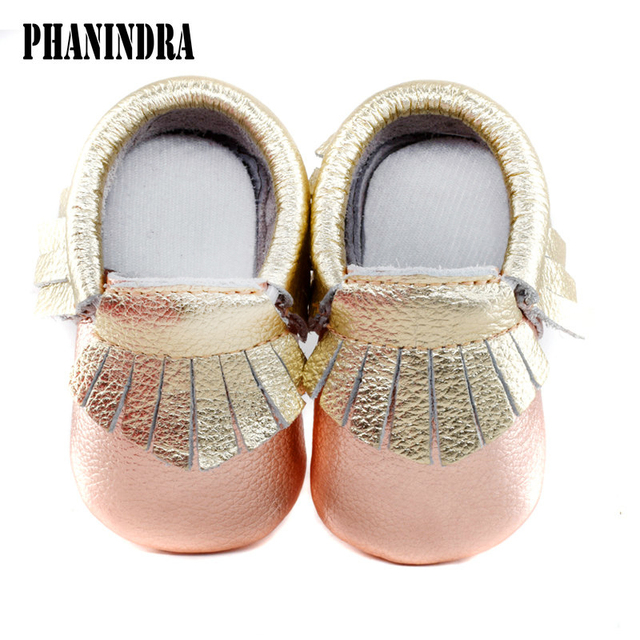 05abbdcfc37c Mix rose gold color baby moccasins genuine leather First Walkers Soft Baby  girls boy shoes tassels infant Fringe Shoes 0-30month
