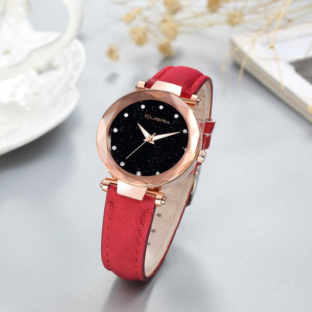 Ladies Watch Starry Sky Crystal Diamond Female Leather Quartz Wrist Watch Elegant Women Watches Bracelet Watch Montre Femme 30Q
