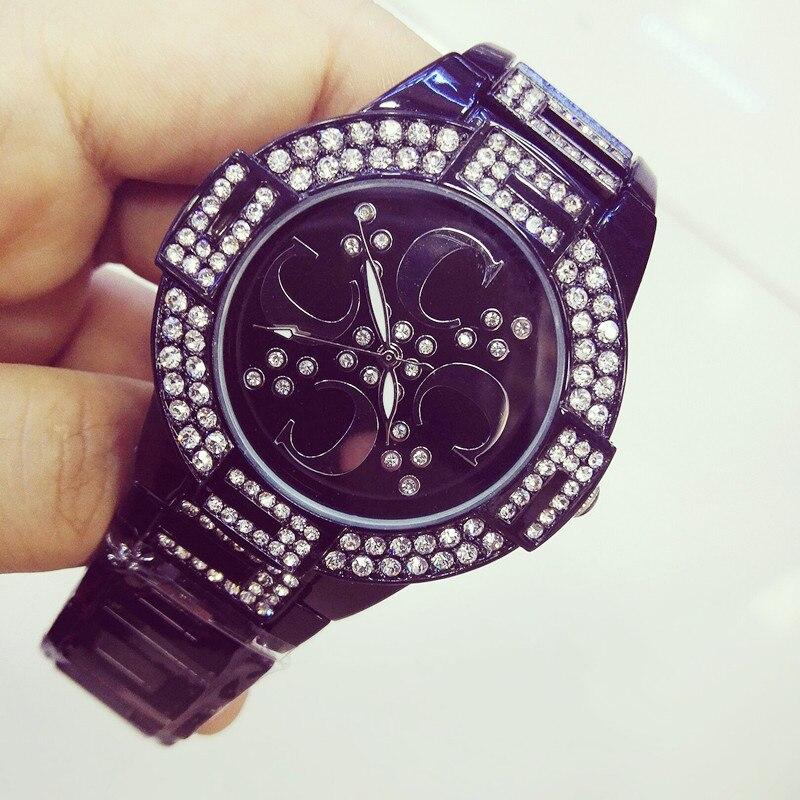 Mens and Womens Quartz Watch Ceramic Strap Black White Full Rhinestone High-end Customized
