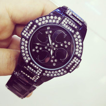 Mens and Womens Quartz Watch Ceramic Strap Black White Full Rhinestone High-end Customized