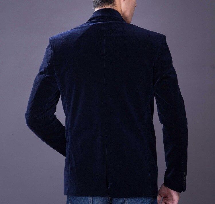 Meeste Slim Fit Velvet Suit Tuxedo jope Mees Kevad Sügis Must - Meeste riided - Foto 5