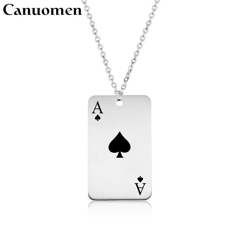 Spade Playing Card Pendant Necklace Stainless Steel Custom Engraving Poker Punk Sports Necklaces Women Men Fashion Jewelry