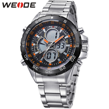 купить Fashion Brand WEIDE Army Sport Watch Men Steel Band Digital Quartz Movement LED Date Day 30m Waterproof Man Wristwatch Relogios онлайн