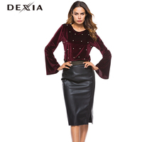 DEXIA Fashion Pearl Beading Burgundy Velvet Top Women Blouse Spring Autumn New Ladies Elegant Flare Long