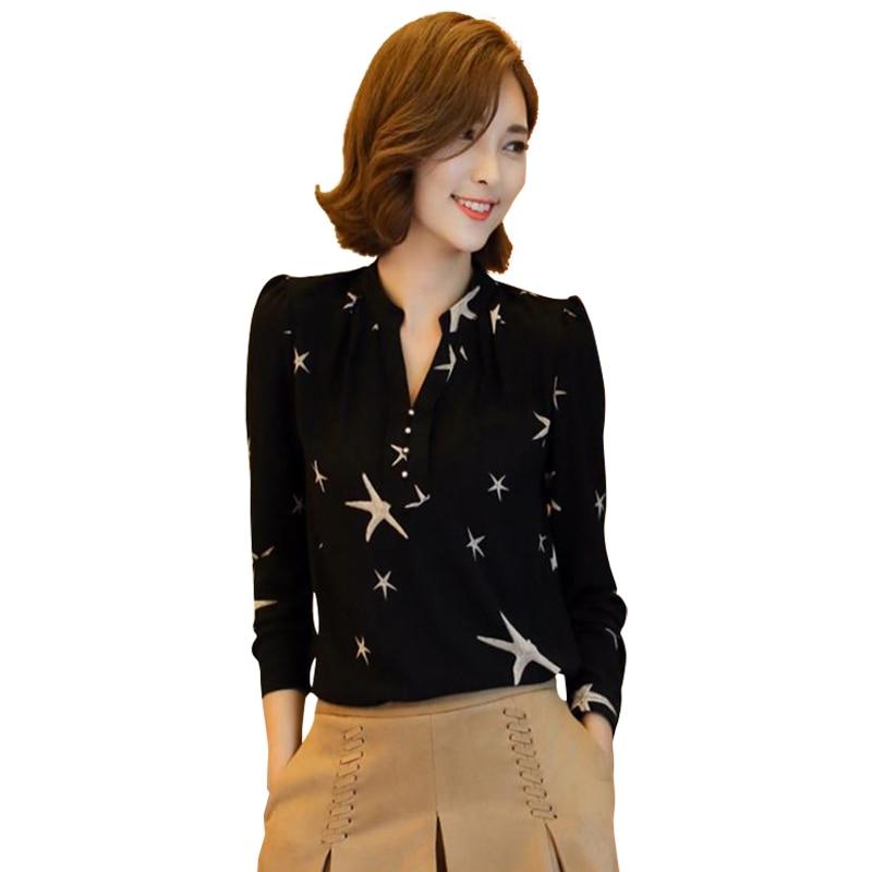 Fashion Women Chiffon Shirt Long Sleeve Feminine Blouse Sexy Ladies Top Work Wear -7194