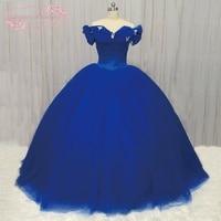 SuperKimJo Cinderela Vestido Mulheres 2018 Flores Do Casamento Vestido de Casamento Vestido de Casamento vestido de Baile Fora Do Ombro Azul Royal
