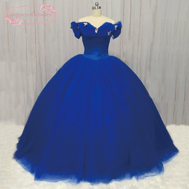 02fbad0946b SuperKimJo Cinderella Dress Women 2018 Flowers Wedding Ball Gown Off  Shoulder Royal Blue Wedding Dress Vestido Casamento