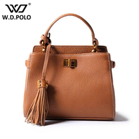 WDPOLO New Genuine Leather Handbags Famous Brand Design Clasp Lock Shoulder Bags With Tassel Charm Women