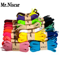 Mr.Niscar 1 Pair Shoe Accessories Polyester Flat Shoelaces for Casual Shoes Colored Shoe Laces Multi Color 100cm 120cm 140cm