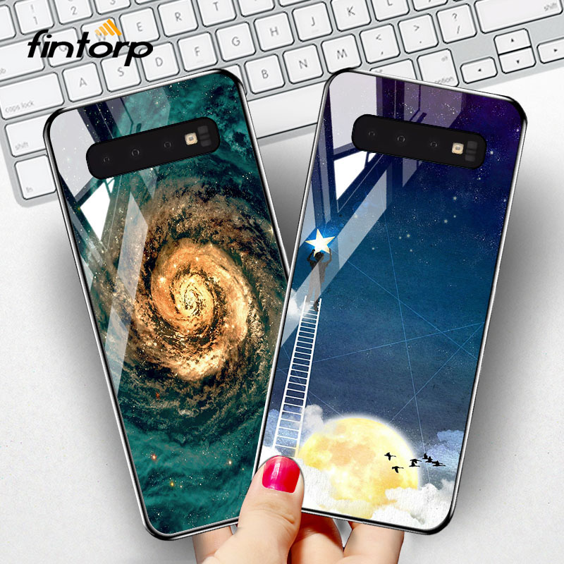 Fintorp Tempered Glass <font><b>Case</b></font> For <font><b>Samsung</b></font> Galaxy S10 Plus <font><b>S10e</b></font> <font><b>Cases</b></font> Silicone Stars Space Cover On the for <font><b>Samsung</b></font> Note 8 Bumper image