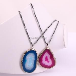 Image 2 - 5Pcs Nature stone 2017 slice pendant necklace with hematite beads necklaces jewelry