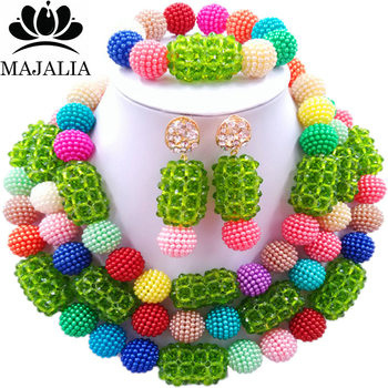 Majalia Fashion Charming Nigerian Wedding African Jewelry Set Multicolo and Green Crystal Necklace Bride Jewelry Sets 3SZ069