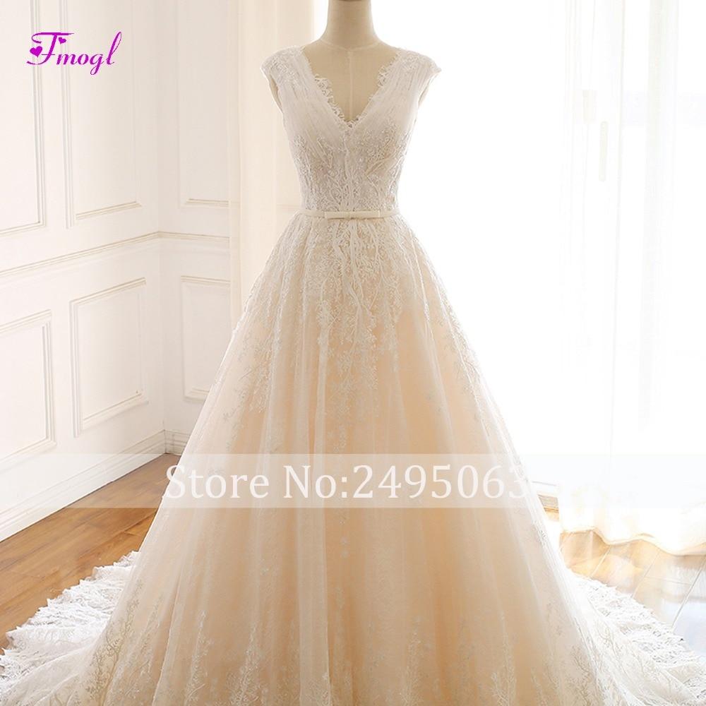 Image 5 - Fmogl Romantic V neck Pleated Lace A Line Wedding Dress 2019 Gorgeous Appliques Princess Bridal Gown Vestido de Noiva Plus Size-in Wedding Dresses from Weddings & Events