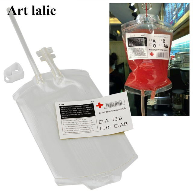 Artlalic 5sets/pack Beverage Bag Juice Power Pack Vampire Blood Energy Drink Bag Cosplay Halloween Pouch Props