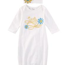 С длинным рукавом Little Sister комбинезон-Пижама для младенцев девочек домашний наряд для малышей Костюм шапочка подарочный набор
