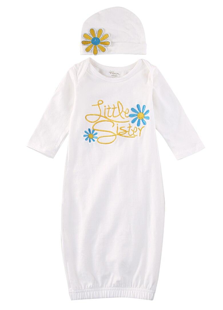 Langarm Kleine Schwester Baby Schlaf Mädchen Coming Home Outfit Baby Kleid Hut Geschenk Set