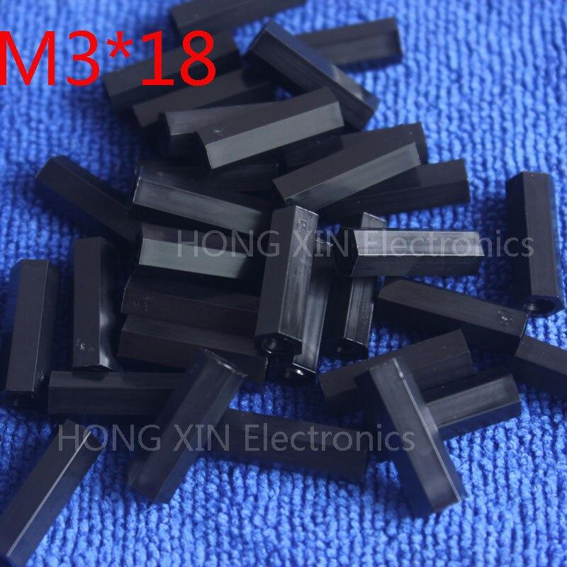 M3 * 18 18mm 1 pcs preto nylon Preto Nylon Hex Masculino-Feminino Standoff Spacer Rosca Espaçador Hexagonal Standoff Spacer nova marca