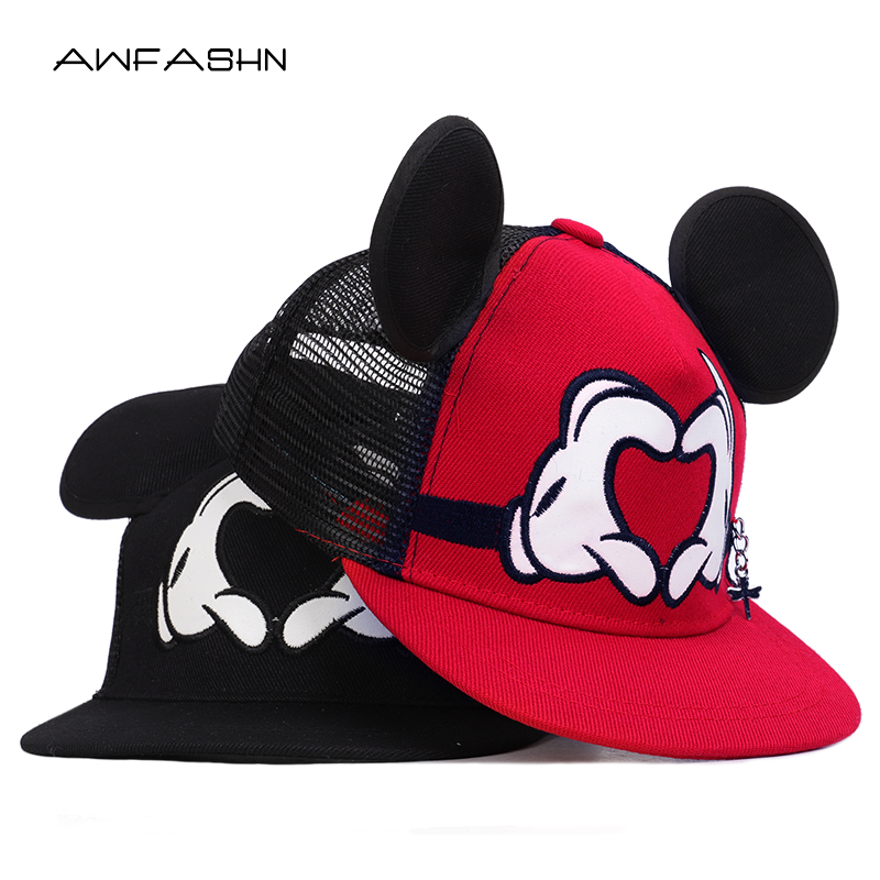 Cartoon Mickey Childrens Hip Hop Hats Boys Girls Universal Adjustable High Quality Outdoor Shade Summer Net Caps Streetwear Kid Apparel Accessories Boy's Hats