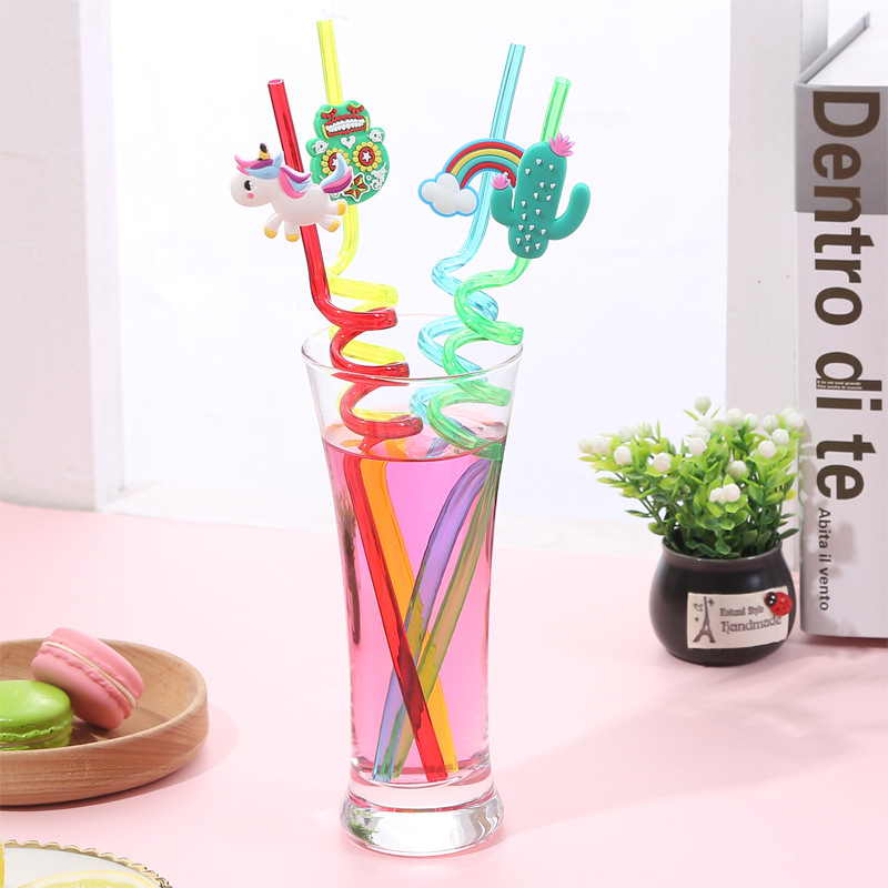 4 PCS Creative Drinking Straw Cute Cartoon Pattern Reusable Straw Drinking Liquor Accessories Food Grade Material Drink Straw