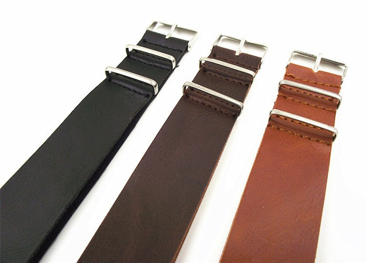 1PCS High quality 16MM 18MM 20MM 22MM 24MM PU leather nato straps Imitation leather Watch band watch strap 3color available high quality leather nylon nato watchbands 18mm 20mm 22mm 24mm 7 colours watch sports watch band straps accessories 1pcs tool