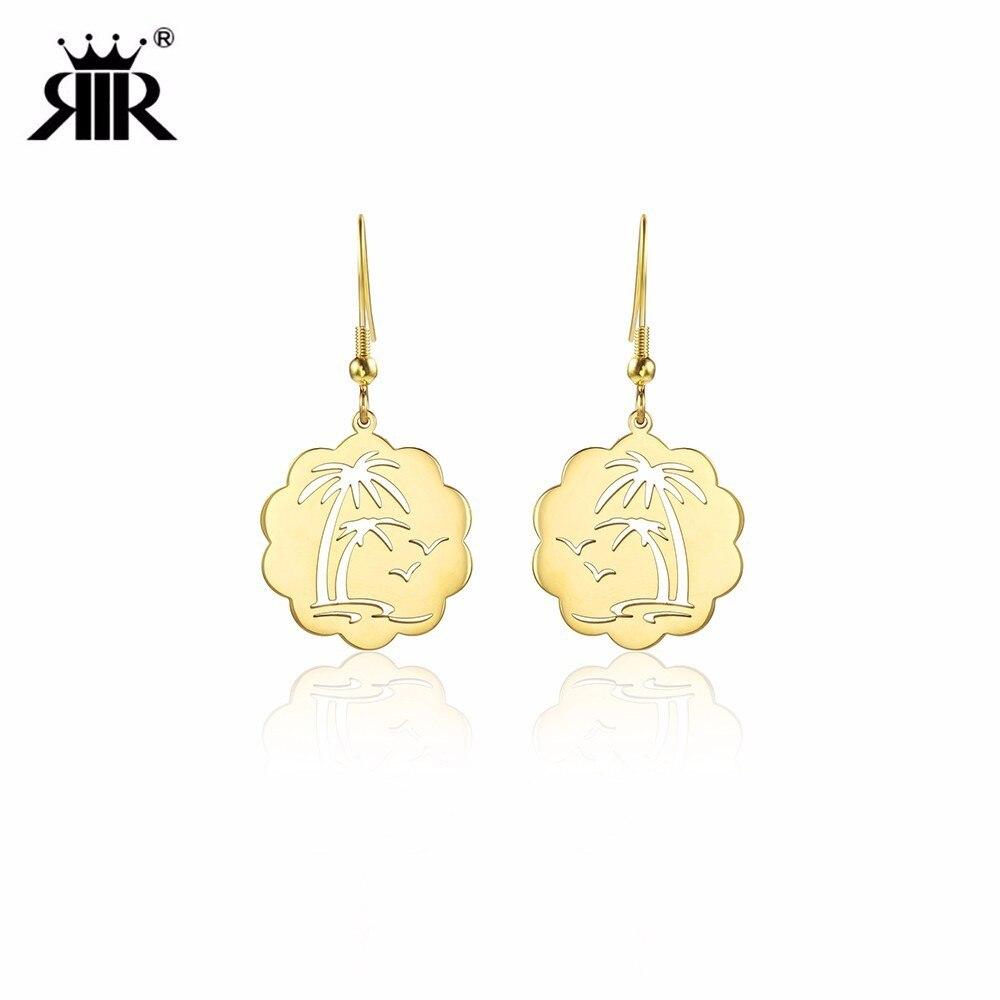 RIR Minimalist Coconut Tree Seagull Seaside Shape Earrings Summer Landscape Ladies Jewellery Earrings Gift For Women