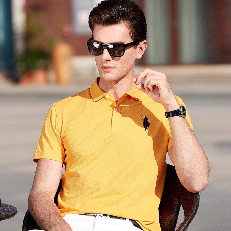 Homens da Camisa do Polo Bordado Padrão Dos Homens do Polo de Moda Elástico Manga Curta Polos Para Hombre Marca Verão Tops YP9097