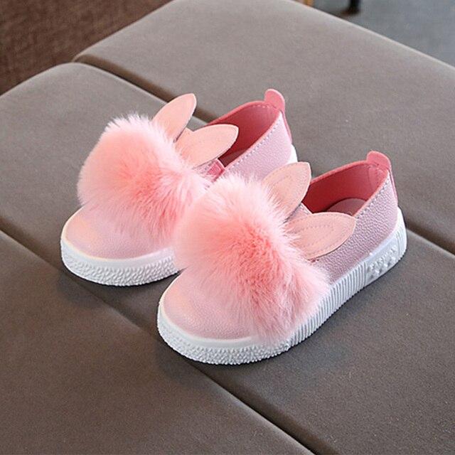 buscar autorización grandes ofertas 2017 distribuidor mayorista € 5.72 15% de DESCUENTO|Dulces niñas casuales conejo oreja Pompom zapatos  para niñas princesa zapatos Sneakers alta calidad en Zapatillas de  Atletismo ...