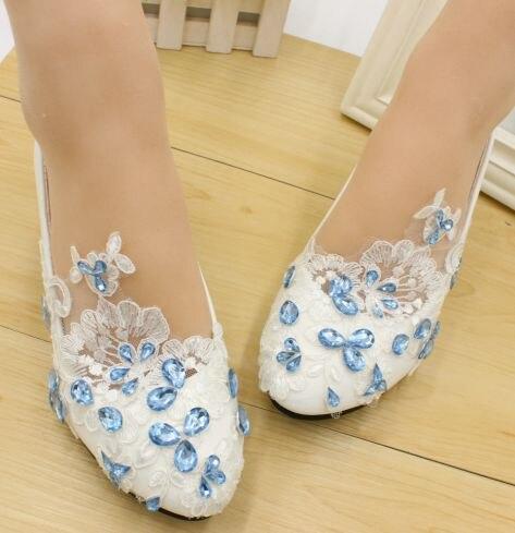 Ciel bleu strass cristal dentelle de mariage chaussures femme TG455 faible med talons mariées de mariée partie robe chaussures blanc dentelle