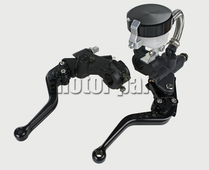 Black Universal 7/8 22mm Handlebar Adjustable CNC Brake Clutch Levers Tank Cylinder Kit With Fluid Oil Reservoir Set For BMW 38mm cylinder barrel piston kit